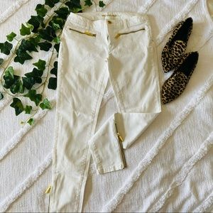 Michael Kors white beige jeans with gold detail